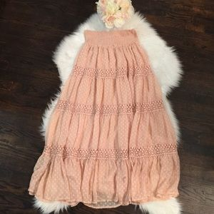 Anthropologie Meadow Rue Maxi Skirt Peach Medium